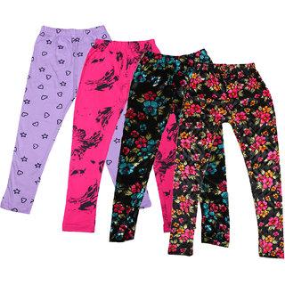 IndiWeaves Girls Cotton Printed Leggings and Velvet Leggings Pack of 4