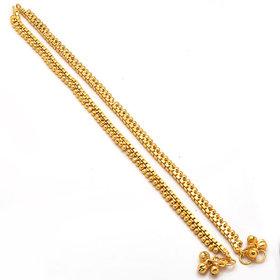 Jewar Mandi Anklet One Gram Gold Plated Kundan Pearl Polki Jewelry for Women Girls 4971