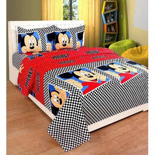 683ae58fbe Buy IDOLESHOP Polycotton Double 3D Printed Bedsheet(1 Bedsheet 2 Pillow  Cover, Multicolor) Online - Get 67% Off