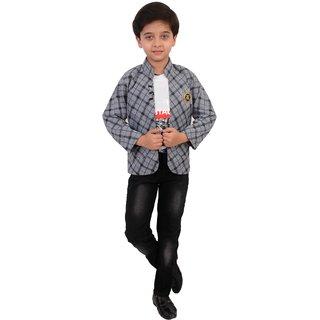 Arshia Fashions Boys Blazer T-Shirt and Jeans set