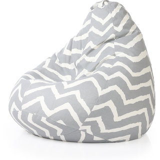 Style Homez Classic Cotton Canvas Stripes Printed Bean Bag XXL Size Cover Only Bean Bags