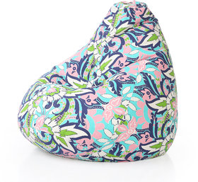 Style Homez Classic Cotton Canvas Floral Printed Bean Bag XXL Size with Fillers