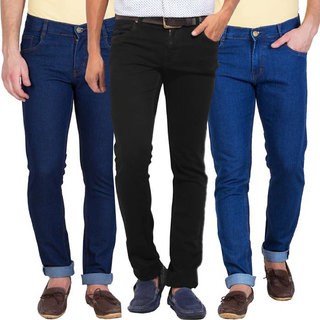 Kstorm Men's Black Blue Slim Fit Jeans (Pack of 3)