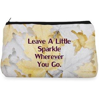 RightGifting Sliver ,golden leaf sparkle Make up Pouch