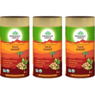 Organic India Tulsi Ginger 100 GM Tin- (Pack Of 3)