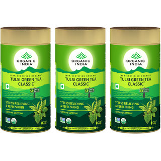 Organic India Tulsi Green Tea Classic 100 GM Tin- (Pack Of 3)