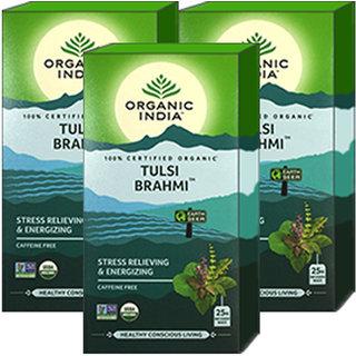 Organic India Tulsi Brahmi Tea 25 Tea Bag- (Pack Of 3)