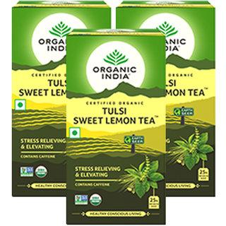Organic India Tulsi Sweet Lemon 25 Tea Bags- (Pack Of 3)