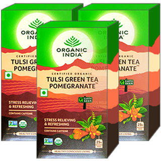 Organic India Tulsi Green Tea Pomegranate 25 Tea Bags- (Pack Of 3)