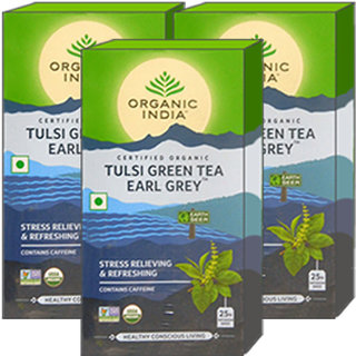 Organic India Tulsi Green Tea Earl Grey 25 Tea Bags- (Pack Of 3)