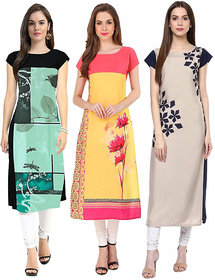 New Ethnic 4 You Woman's Straight Cut Printed Crep Kurti (Pack of 3)4-12-15