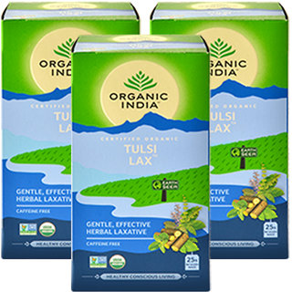 Organic India Tulsi Lax Tea 25 Tea Bags- (Pack Of 3)