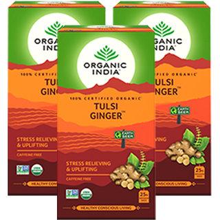 Organic India Tulsi Ginger 25 Tea Bag- (Pack Of 3)