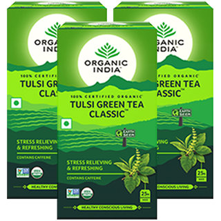 Organic India Tulsi Green Tea Classic - 25 Tea Bags- (Pack Of 3)