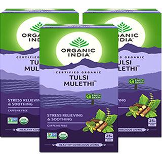 Organic India Tulsi Mulethi 25 Tea Bags- (Pack Of 3)