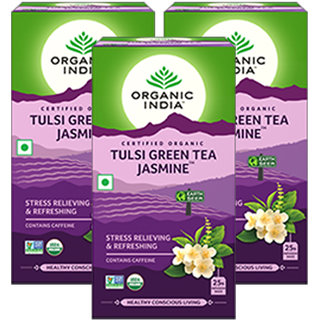 Organic India Tulsi Green Tea Jasmine 25 Tea Bags- (Pack Of 3)