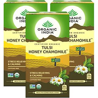 Organic India Tulsi Honey Chamomile 25 Tea Bags- (Pack Of 3)