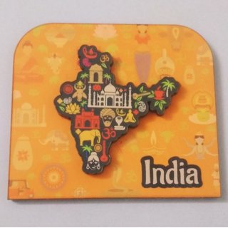 Metalcraft fridge magnet, Indian souvenir, Indian map.