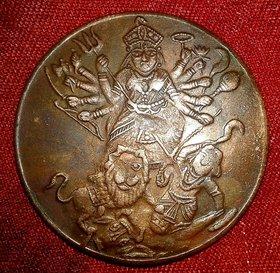 Goddess Durga Devi E.I.Co. One Anna 1818 Temple Token Copper Coin