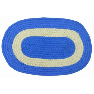 Azaani Blue Solid Cotton Door Mat Set of 1 (48 x 30 cm)