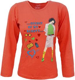 Kothari Girls Cotton Full Sleeves Casual Regular fit Printed Round Neck Orange Color Top
