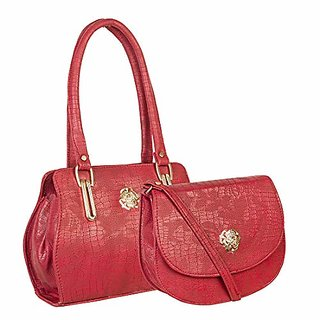 Louise Belgium Combo of Women's Handbag & Sling Bag - Red