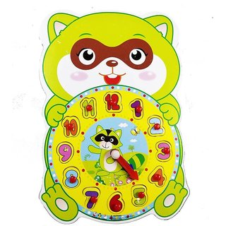 Emob Early Childhood Time learning and shape Sorting Raqun Shaped Clock for Kids  (Multicolor)