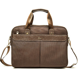 VIVA MILANO - 1001 Briefcase Cum Laptop (Brown) with Cordura Polyester Fabric + PU