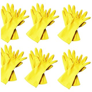 DIY Crafts Heavy Duty Disposable Yellow Rubber Latex Kitchen & Household Cleaning Gloves, Powder-Free, 6 Pairs Size Large