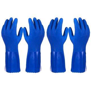DIY Crafts Pack of 2 Pairs Household Gloves - Cotton Lined Dish Gloves - Dishwashing Gloves - Rubber Gloves - Kitchen Gloves, Blue, Medium