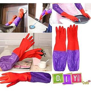 DIY Crafts 1 Pair Reusable Rubber Latex Household Kitchen Long Gloves Free Size Left Hand  Right Hand 2 Pcs 1 Pair Branded by DIY Crafts