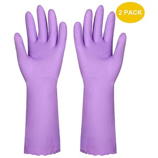 DIY Crafts Household Gloves,Latex Free Vinyl Cotton Lining Non- Slip Swirl Grip Gloves for Kithen Dishwashing Laundry Cleaning 2 Pairs