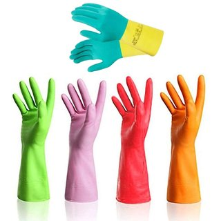 DIY Crafts Pack of 4 Pairs Household Gloves - Dishwashing Reusable Kitchen Waterproof Household Rubber Latex Cleaning Gloves (4 pairs M)