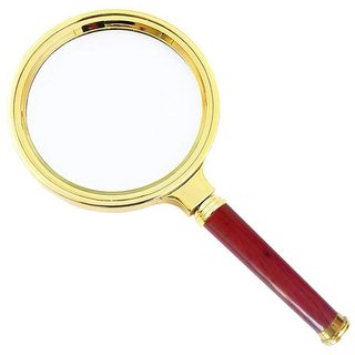 DIY Crafts 10X Old Man Reading Hand-Held Magnifying Glass Imitation Red Wood Handle (Small-80mm)