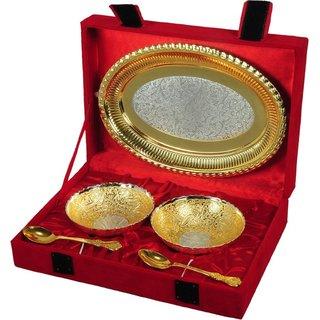 NKSUNNY Silver  Gold Plated Brass Bowl Set 5 Pcs. Brass Bowl Set