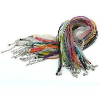 DIY Crafts Organza Ribbon Waxen Cord with Lobster Clasp, Multicolor(Pack of 10)