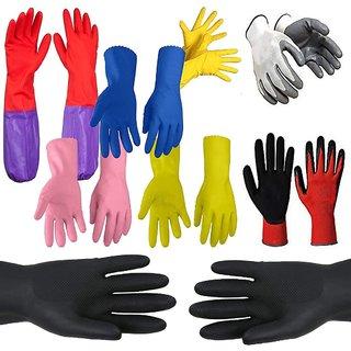 DIY Crafts Usseful Medium Natural Rubber Flock Lined Hand Gloves Set (Multicolor, Pack of 6)