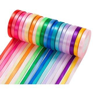 DIY Crafts Silk Satin Ribbon Rool for Crafting, 2/5 Inch Wide(20 Rolls, 25 Yard Each Roll)