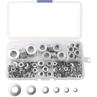 DIY Crafts 640-Pcs [8-Size] 304 Stainless Steel Flat Washer & Lock Washer Assortment Set Size M2 M2.5 M3 M4 M5 M6 M8 M10