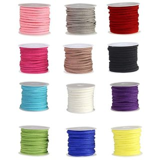 DIY Crafts Micro-Fiber Flat Leather Thread Faux Suede Cord String Velet Beading(12 Colors Each 12 Yards)