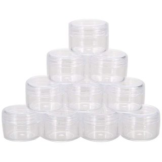 DIY Crafts 5 ML Round Clear Leak Proof Plastic Container Jars with Clear Lids (Pack of 10 Pcs)