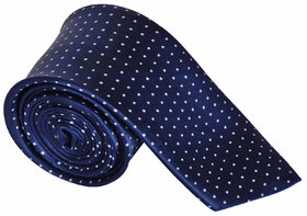 Sunshopping Men's Navy Blue Color With White Doted Narrow Tie