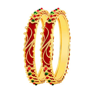 9a5c7ea2a MFJ Fashion Brass Gold Plated Meenakari Work With Multistone Bangle For  Women