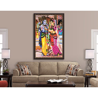 ram sita Images Sand Stone Painting UV Print Canvas