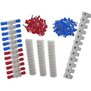DIY Crafts 2 Rows 12P Wire Connector Screw Terminal Barrier Block 300V 10A + Insulated Electrical Wire Connector Red