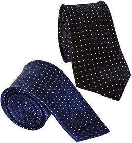 Sunshopping Men's Navy Blue And Black Color With White Doted Narrow Ties (Combo)