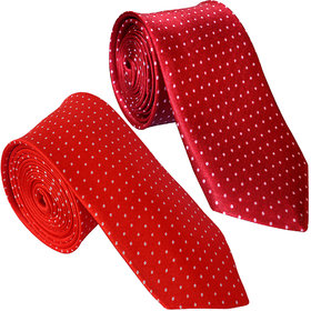 Sunshopping Men's Red And Maroon Color With White Doted Narrow Ties (Combo)