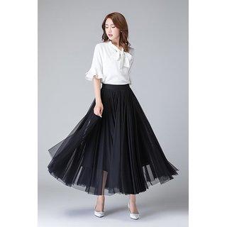 Code Yellow Women's Black Plain Net Flair Skirt - VIVI-SKT-01