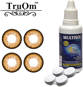 TruOm Honey Lens Combo Pack Monthly Colour Contact Lens With Solution