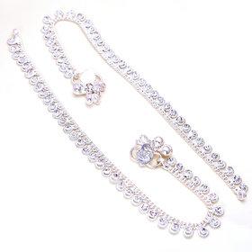 Jewar Mandi Anklet Silver Plated Kundan Ad Cz Gemstones Jewelry for Women Girls
